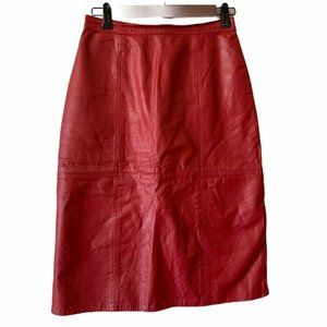 Laurice Vintage Leather A Line Skirt Red Knee 5/6